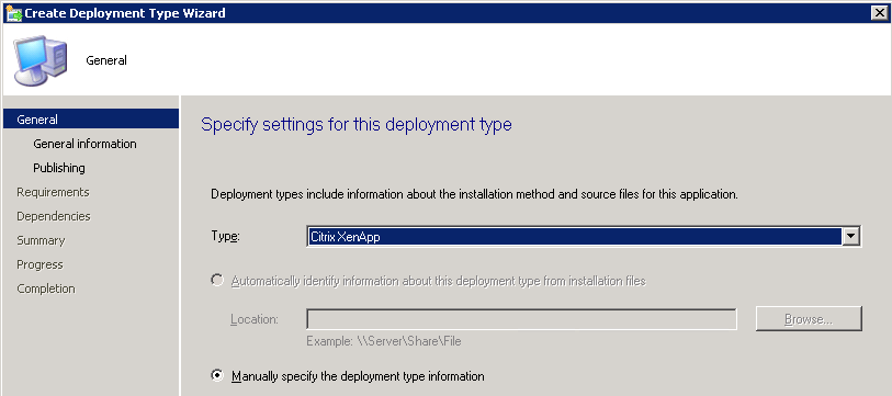 Select the Citrix XenApp Deployment Type