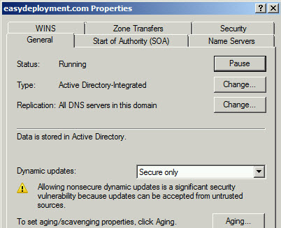 Enable dynamic updates in DNS