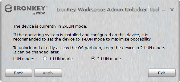 Select the 2-lun mode to access both of the luns on the device