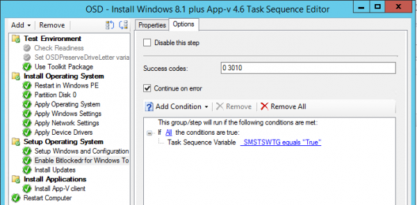 Be sure to configure the task only to run while deploying Windows To Go