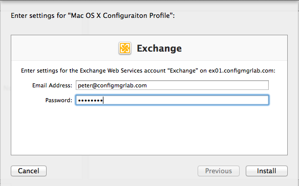 Configure the user settings for the Exchange Profile