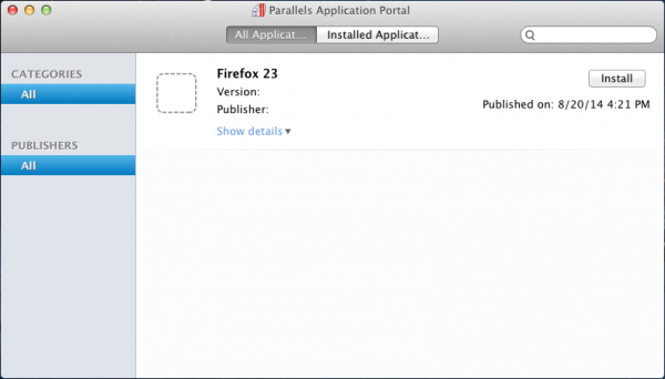 Firefox available in the Application Portal