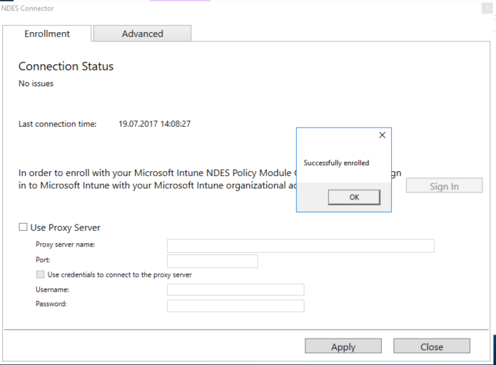 How to enroll the NDES Connector for Intune on Windows Server 2016