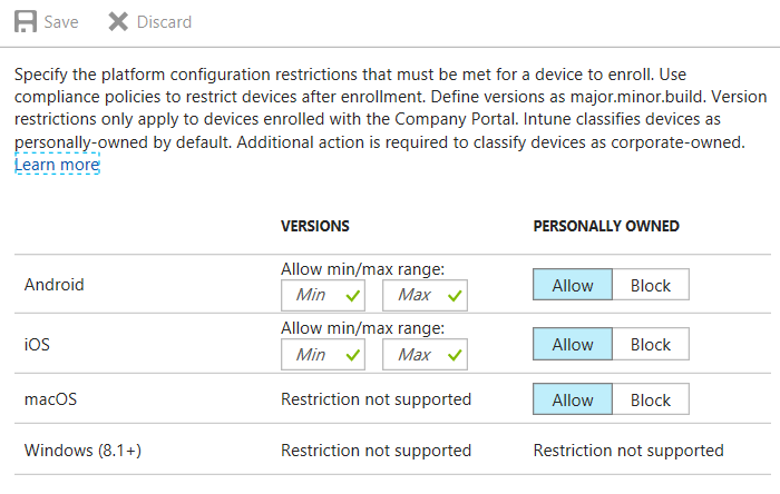 Quick Intune tip: use device restrictions to get control