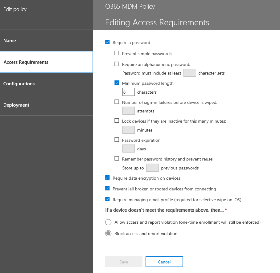 Couple of things to look at when using Office 365 MDM and