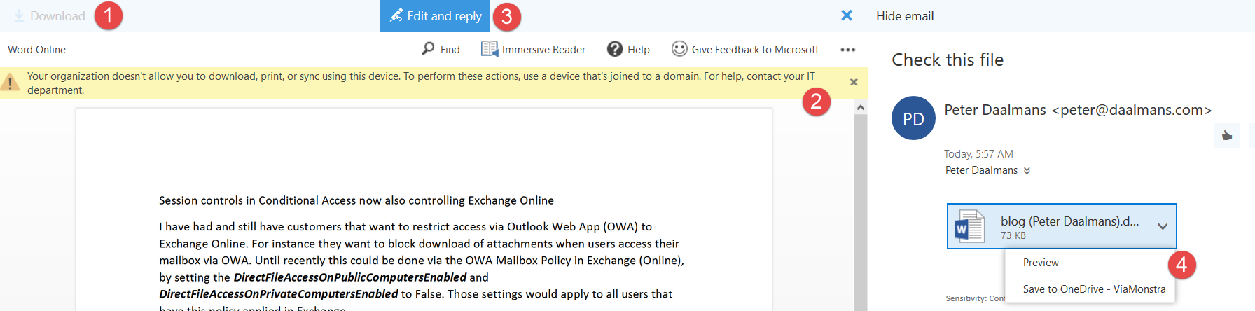 Session controls in Conditional Access now also controlling Exchange